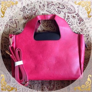 Purse, red clutch or shoulder style.